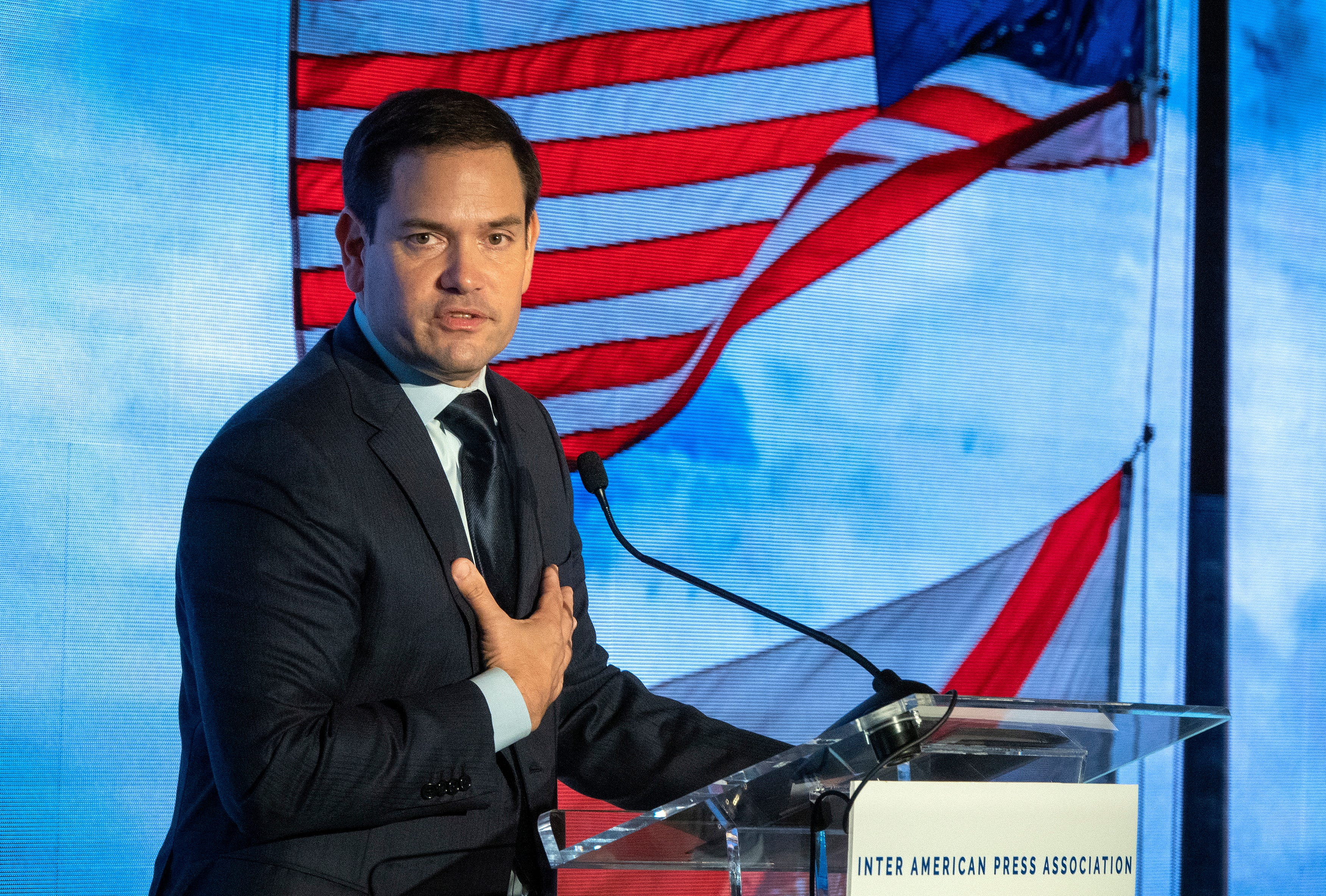 U.S. Sen. Marco Rubio of Florida speaks during the 75th General Assembly of the Inter American Press Association (IAPA), in Coral Gables, Florida, Oct. 6, 2019.