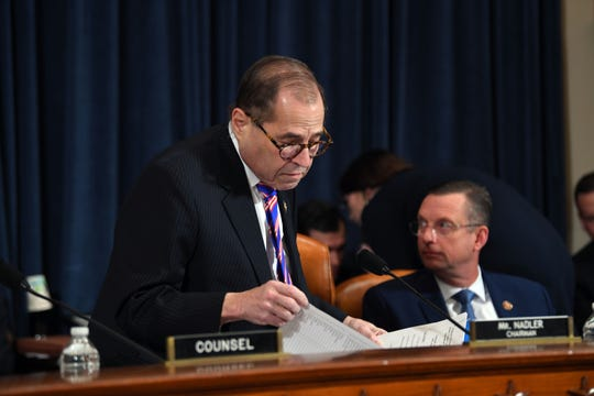 House Judiciary Committee Chairman Rep. Jerrold Nadler, D-N.Y., left, and ranking member Rep. Doug Collins, R-Ga. arrive as the House Judiciary Committee holds the first formal impeachment inquiry of President Donald Trump to explore how the Constitution applies to allegations of misconduct on Dec. 4, 2019.
