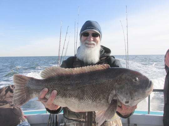 Jim Anderson of Lake Hopatcong with a 13.4-pound blackfish he caught on the Elaine B II on Nov. 30, 2019.
