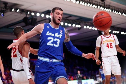 Seton Hall Pirates forward Sandro Mamukelashvili (23)  cannot reach the ball during the first half against the Iowa State Cyclones at Imperial Arena.