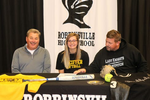 Gracye Burchfield of Robbinsville High School signed today with Pfeiffer University to play softball.