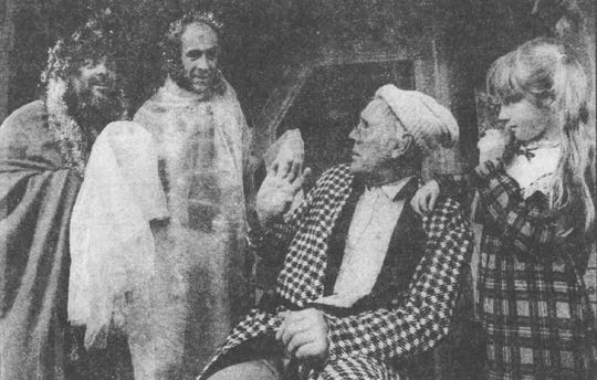 "1988: ""A Christmas Carol"" at the Cider Mill featured, from left: Claus Evans, Bill Gorman, John Bielenberg and Erin Patricia Vestal."