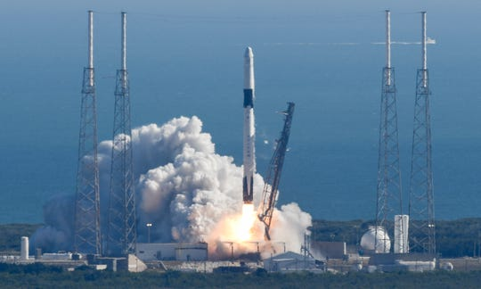 A SpaceX Falcon 9 rocket lifts off from Cape Canaveral Air Force Station Thursday, December 5, 2019. The Dragon cargo capsule is carrying supplies destined for the International Space Station. Mandatory Credit: Craig Bailey/FLORIDA TODAY via USA TODAY NETWORK