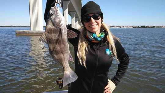 Becca Feig caught this black drum and her father caught black margate, Spanish mackerel and pompano while fishing the Indian River Lagoon with live shrimp on naked jigs.