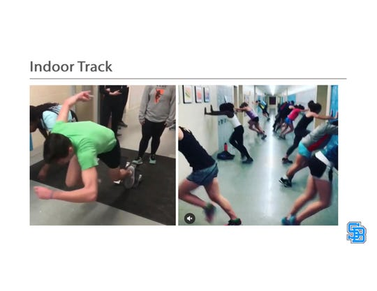South Burlington High School indoor track team practices in school hallways currently. Starting blocks and even hurdles are sometimes set up, creating traffic flow issues and hazards. Photo provided November 2019.