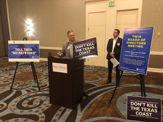Corpus Christi Mayor Joe McComb urges the public to attendand speak against the rate hike at the TWIA board meeting on Dec. 10.