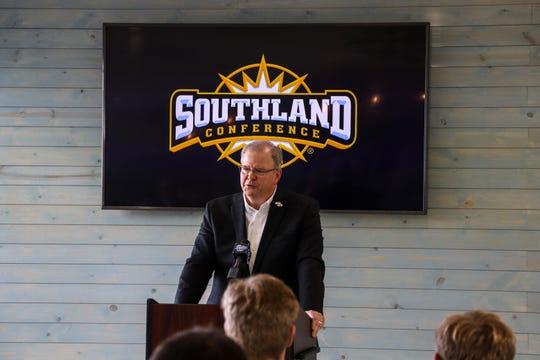 Southland Conference commissioner Tom Burnett speaks at the Cotton Club at Whataburger Field, announcing the conference will hold the 2020 baseball tournament at the venue on Thursday, Dec. 5, 2019.