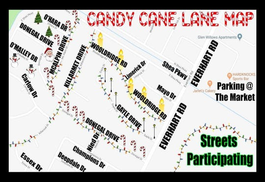 Candy Cane Lane of Corpus Christi 2019 map.