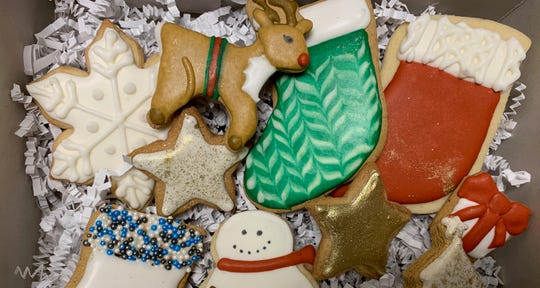 An assortment of holiday cookies from TÁL32 Bespoke Confectionary in Haddonfield. A limited number of cookie decorating kits are also available.