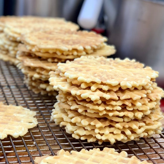 Handmade pizzelle are offered in three flavors at Valente's Italian Specialties in Haddonfield.