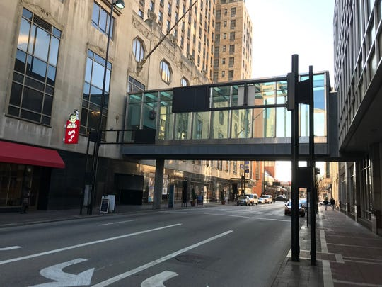 The skywalk across West Fifth Street between the Carew Tower building and the Fountain Place building