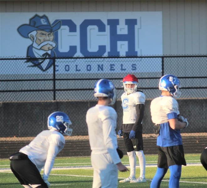 CovCath gets set to run a play during practice Dec. 4, 2019