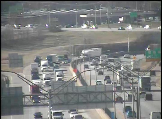 An Ohio Department of Transportation OHGO image shows heavy traffic on I-75 north heading toward the Brent Spence Bridge across the Ohio River to Cincinnati. A Thursday afternoon crash has shut down lanes on the bridge.