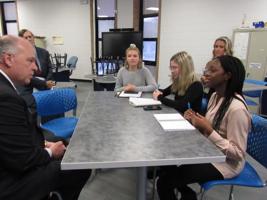 State Senate President Sweeney is interviewed by Manville High School students Kayla Knape, Sara Sobkowicz and Fatima Diarra during his visit to the school on Wednesday.
