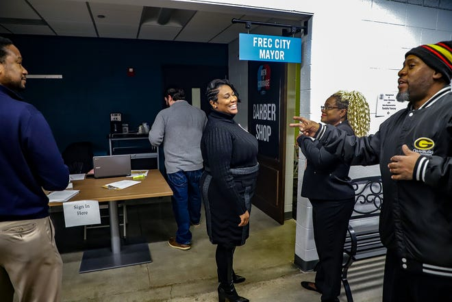 Rep. Tenisha Yancey, D-Harper Woods, hosts an expungement and job resource fair at the Ford Resource and Engagement Center in east Detroit on Nov. 30, 2019. Rep. Yancey, who has misdemeanor and felony convictions on her record, passed the character and fitness evaluation to become a lawyer in Michigan and worked as an assistant prosecutor in the Wayne County Prosecutor's Office before running for office.