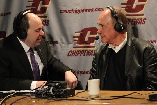 Don Chiodo, left, on the CMU Sports Network Coaches Show with Dick Enberg.
