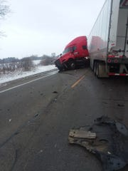 A semi-truck involved in a car crash on M-46 blocked traffic in both directions on Dec. 4, 2019. CMU broadcaster Don Chiodo was killed in the crash.