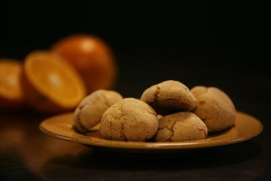 Ginger cookies with orange zest .