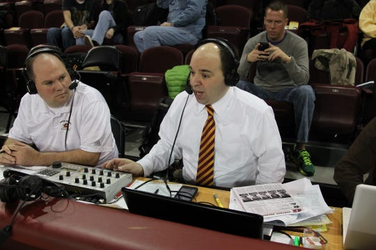Don Chiodo, right, on the CMU play-by-play call.