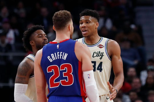 Blake Griffin and Giannis Antetokounmpo exchange words after a foul during the first half Wednesday.