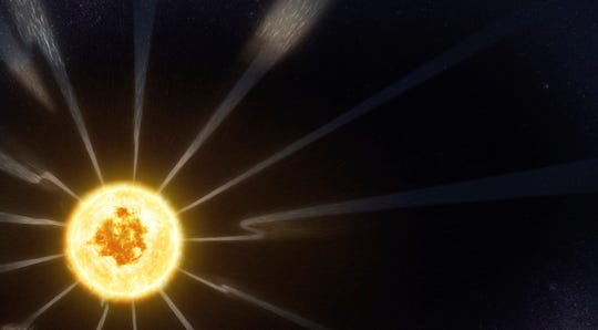 This image taken from video animation, shows flips in the direction of the magnetic field embedded in the solar wind that flows out from the Sun, as detected by the NASA's Parker Solar Probe's FIELDS instrument.