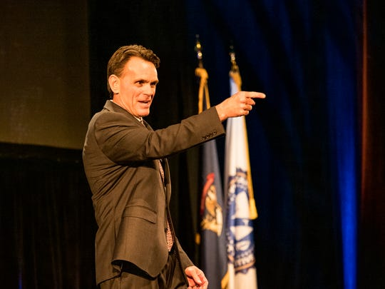 Macomb County Executive Mark Hackel delivers the State of the County address at the Macomb Center for the Performing Arts in Clinton Township on Wednesday evening, December 4, 2019