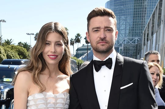 Jessica Biel, left, and Justin Timberlake arrive at the 70th Primetime Emmy Awards on Monday, Sept. 17, 2018, at the Microsoft Theater in Los Angeles.