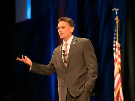 Macomb County Executive Mark Hackel delivers the State of the County address at the Macomb Center for the Performing Arts in Clinton Township on Wednesday evening, December 4, 2019.