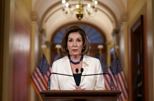 Speaker of the House Nancy Pelosi, D-Calif., announces Thursday, Dec. 5, 2019.   that the House is moving forward to draft articles of impeachment against President Donald Trump.