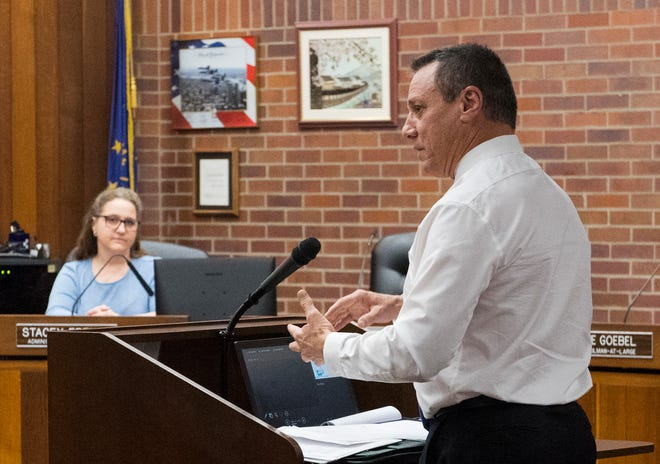 Vanderburgh County Sheriff Dave Wedding addresses County Council with concerns of jail overcrowding Wednesday, Dec. 4, 2019.