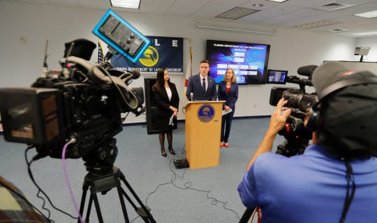The Florida Department of Law Enforcement held a news conference Thursday, December 5, 2019, to announce the arrest of nine suspects charged with defrauding the Lee County Port Authority out of more than $700,000 in a janitorial contracting scheme.