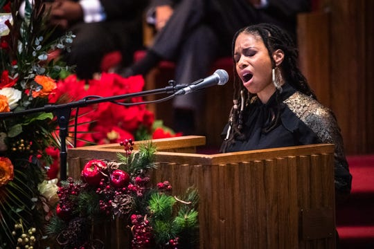 Brittany Lorena Anderson, granddaughter of Senator Ralph Anderson, speaks at his funeral at Springfield Baptist Church in Greenville Thursday, December 5, 2019.