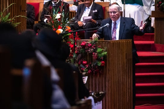 Senator Glenn Reese speaks at the funeral of Senator Ralph Anderson at Springfield Baptist Church in Greenville Thursday, December 5, 2019.