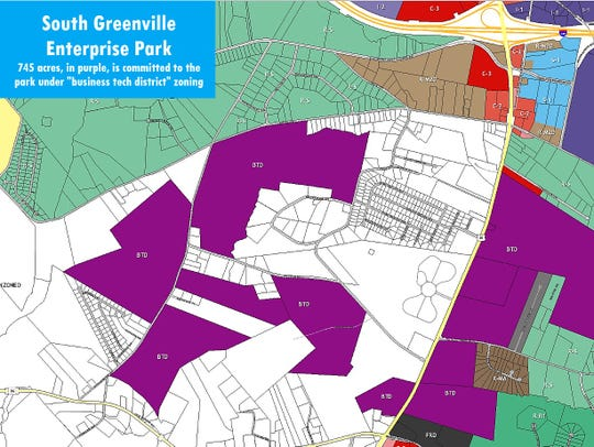 """Private property owners have pooled their land, shown here in purple, and are marketing it as the """"South Greenville Enterprise Park."""" The park's first tenant will be a heavy equipment maker, Iowa-based Vermeer Co."""
