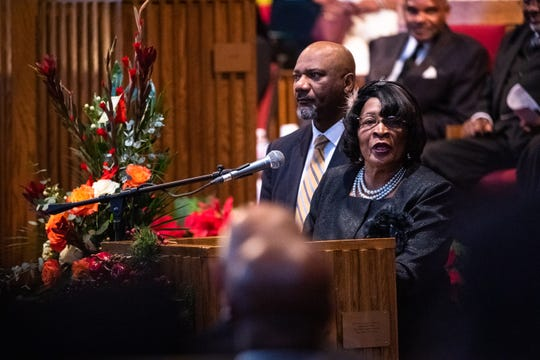 South Carolina state representative Leola Robinson-Simpson speaks at the funeral for Senator Ralph Anderson at Springfield Baptist Church in Greenville Thursday, December 5, 2019.