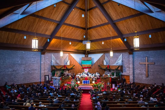 Friends and family of Senator Ralph Anderson fill Springfield Baptist Church in Greenville for his funeral Thursday, December 5, 2019.