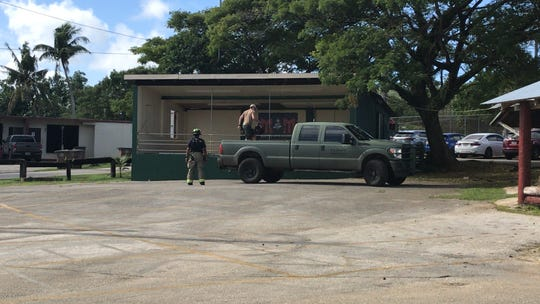 U.S. Navy Explosive Ordnance Disposal Unit  responded to the Agana Heights Mayor's Office for an unexploded ordnance.