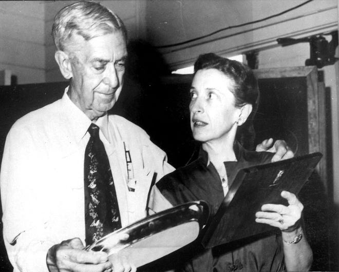"""Gleaner-Journal publisher Leigh Harris, 73, who published the papers here from 1909 to 1950, and his daughter, Francele Armstrong, who ran the newspaper after Harris. Armstrong, known to her friends as """"Skeet,"""" is 44 in this 1949 photo."""