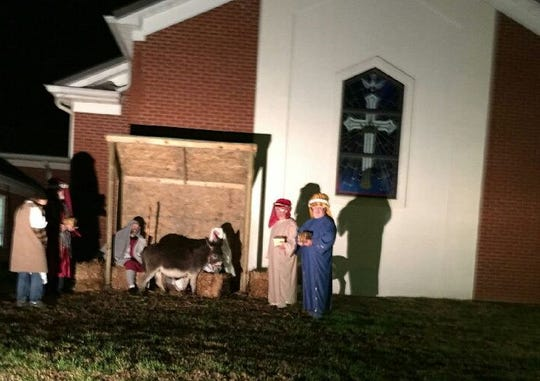 The nativity scene at Northside Baptist Church from 2018 during the Christmas season.