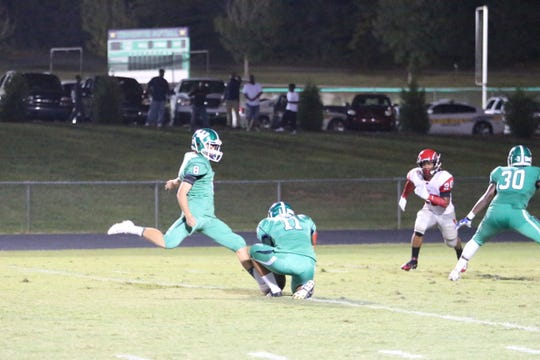 Keith Duncan (8) is shown during his days at Weddington High School outside of Charlotte, where he connected on a state-record 51 field goals during his career.