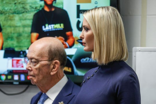 """Ivanka Trump and Secretary of Commerce Wilbur Ross listen to a presentation Thursday about """"The Last Mile"""" program at the Indiana Women's Prison."""