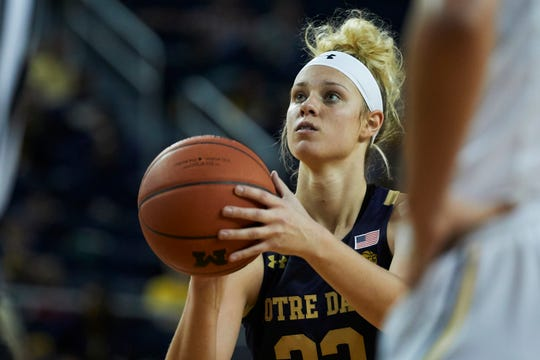 Notre Dame forward Sam Brunelle (33) shoots a free throw against Michigan during an NCAA women's basketball game on Saturday, Nov.23, 2019 in Ann Arbor, Mich.