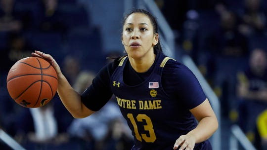 Notre Dame guard Marta Sniezek (13) dribbles against Michigan during an NCAA women's basketball game on Saturday, Nov.23, 2019 in Ann Arbor, Mich.