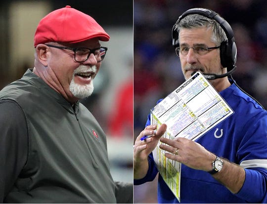 Bruce Arians of the Tampa Bay Buccaneers (left) and Frank Reich of the Indianapolis Colts