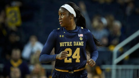 Notre Dame guard Destinee Walker (24) in action against Michigan during an NCAA women's basketball game on Saturday, Nov.23, 2019 in Ann Arbor, Mich.