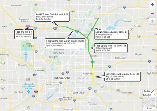 Lane restrictions on Marion County interstates from Dec. 6-9, 2019.