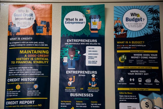 Posters about credit, entrepreneurs and budgets hang up in a personal finance class Thursday, Dec. 5, 2019 at West High School in Iowa City, Iowa.