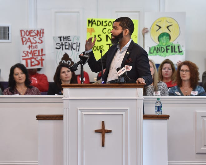 Jackson Mayor Chokwe Antar Lumumba speaks from the pulpit of Rocky Hill Baptist Church in Ridgeland, Miss. on Thursday, Dec. 5, 2019 during a meeting of protestors organized against the proposed development of a third landfill in Madison County.