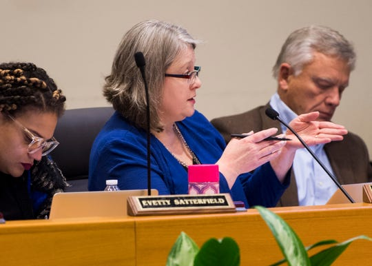 Knox County School Board member Jennifer Owen, center, speaks during the Knox County School Board Meeting held at the City-Council Building in downtown Knoxville on Wednesday, December 4, 2019.