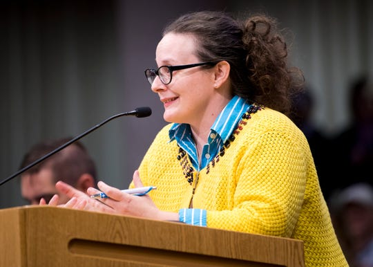 Jenny Sneed speaks during the public forum portion of the Knox County School Board Meeting held at the City-Council Building in downtown Knoxville on Wednesday, December 4, 2019.